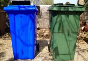 green and blue 240 lire weelie bins